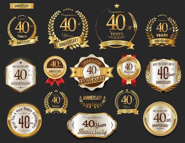 Colección de etiquetas doradas de aniversario