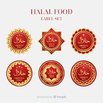 Colección de etiquetas doradas de comida halal con diseño plano