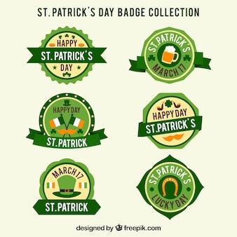 Colección de etiquetas e insignias de san patricio