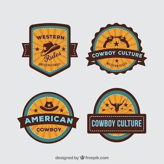 Colección de etiquetas e insignias de vaquero