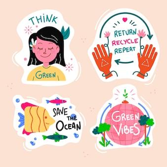 Colección de etiquetas ecológicas verdes