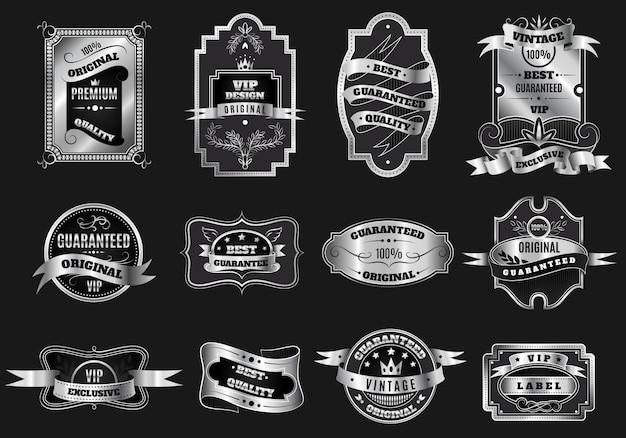 Colección de etiquetas de emblemas de plata originales retro