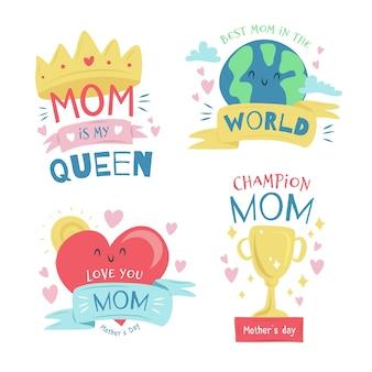 Colección de etiquetas con estilo del día de la madre