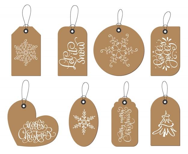 Colección de etiquetas de etiquetas de navidad de vector con copos de nieve