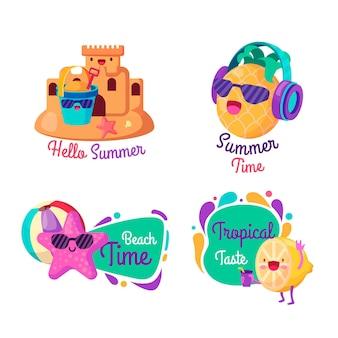 Colección de etiquetas felices de horario de verano