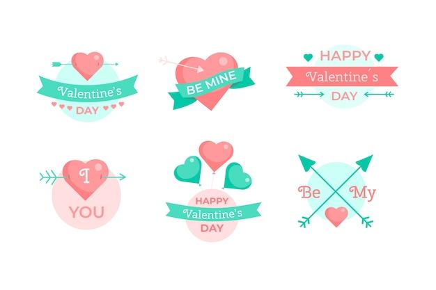 Colección de etiquetas de feliz día de san valentín