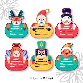 Colección de etiquetas de feliz navidad con etiquetas de nombre
