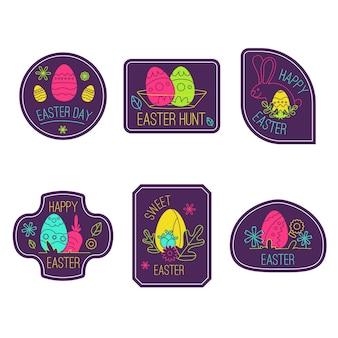 Colección de etiquetas festivas del día de pascua de primavera