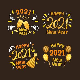 Colección de etiquetas de fiesta de año nuevo 2021 en acuarela
