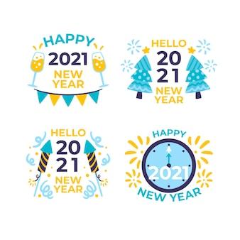 Colección de etiquetas de fiesta de año nuevo 2021 dibujadas a mano