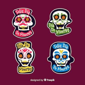 Colección de etiquetas flat día de muertos
