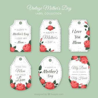 Colección de etiquetas florales del día de la madre