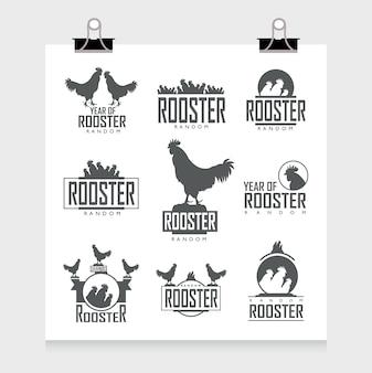 Colección de etiquetas de gallo