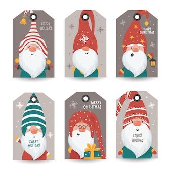 Colección de etiquetas con gnomos y deseos navideños. plantillas de tarjetas imprimibles.