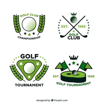 Colección de etiquetas de golf en estilo plano