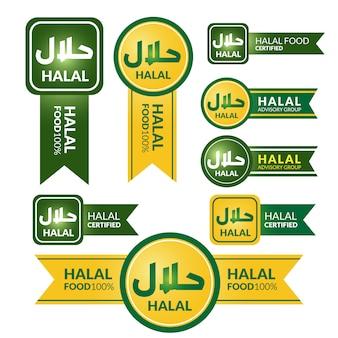 Colección de etiquetas halal etiqueta