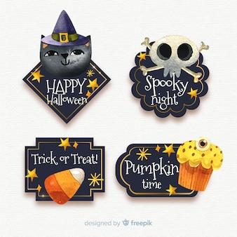 Colección de etiquetas de halloween en acuarela