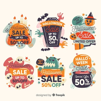 Colección de etiquetas de halloween con cupones de oferta