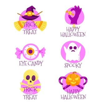 Colección de etiquetas de halloween dibujadas a mano