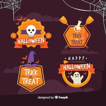 Colección de etiquetas de halloween en diseño plano
