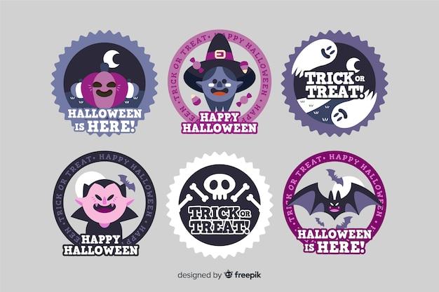 Colección de etiquetas de halloween de diseño plano