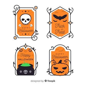 Colección de etiquetas de halloween de diseño vintage