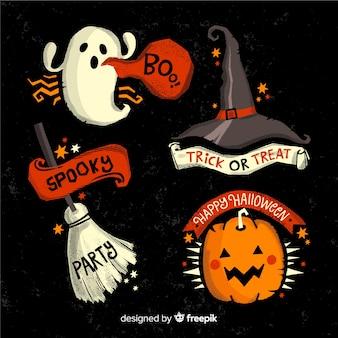 Colección de etiquetas de halloween espeluznante