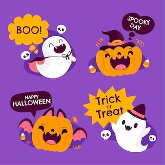 Colección de etiquetas de halloween planas dibujadas a mano