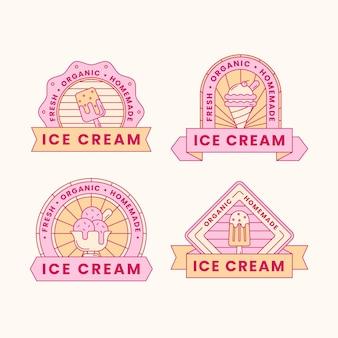 Colección de etiquetas de helado de diseño plano lineal