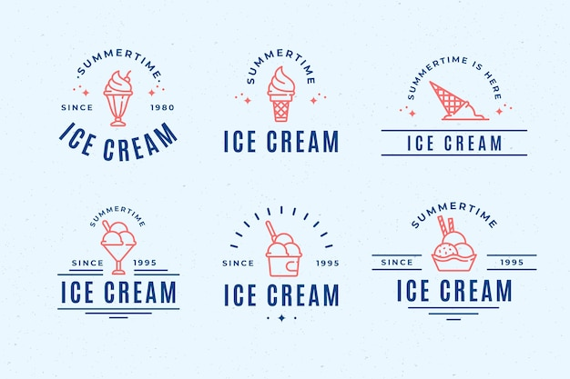 Colección de etiquetas de helado plano lineal
