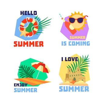 Colección de etiquetas de horario de verano dibujadas a mano