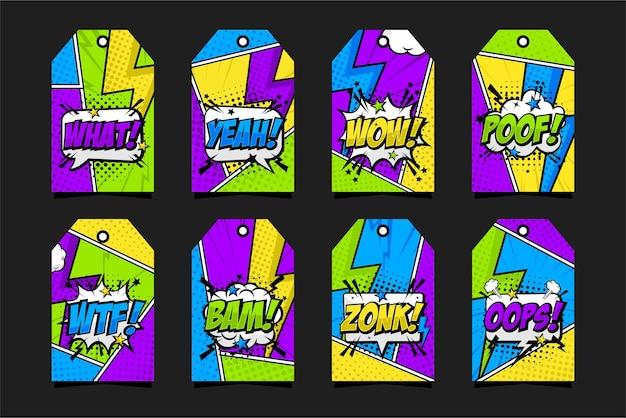 Colección de etiquetas de insignia de cómic pop art