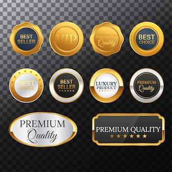 Colección de etiquetas de insignia dorada premium de lujo
