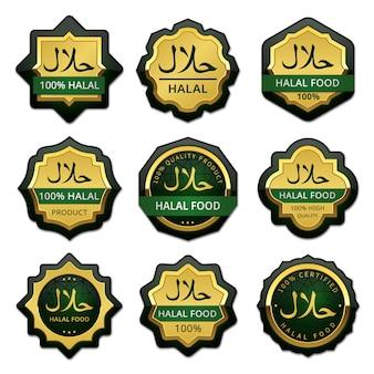 Colección de etiquetas de insignias de comida halal de lujo
