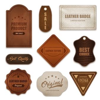 Colección de etiquetas de insignias de cuero realistas