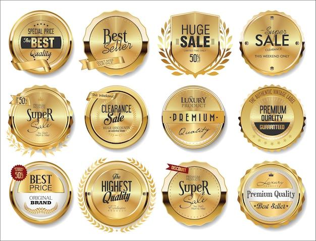Colección de etiquetas de insignias doradas.