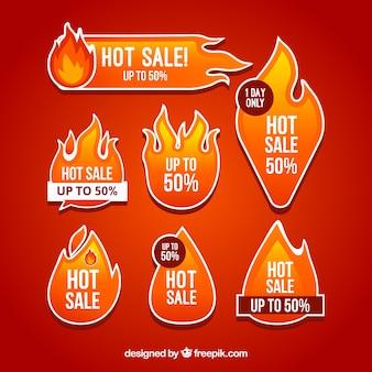 Colección de etiquetas / insignias de fuego con diseño plano