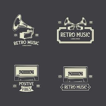Colección de etiquetas de insignias de música retro