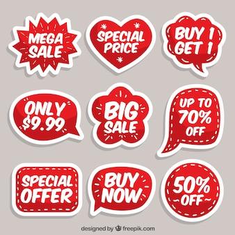 Colección de etiquetas/insignias planas de venta