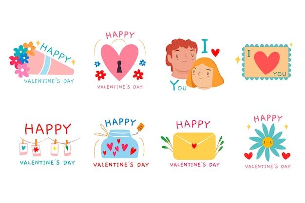 Colección de etiquetas / insignias de san valentín dibujadas a mano