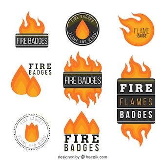 Colección de etiquetas/insignias de venta de fuego
