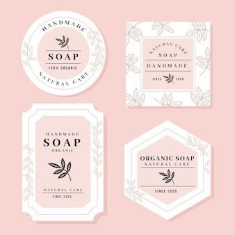 Colección de etiquetas de jabón hechas a mano