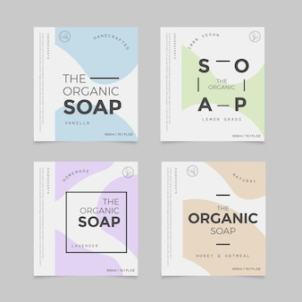 Colección de etiquetas de jabón orgánico