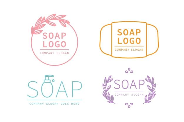 Colección de etiquetas de jabón orgánico.