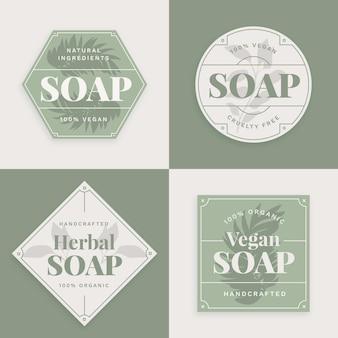 Colección de etiquetas de jabón vegano