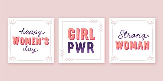 Colección de etiquetas de letras del día internacional de la mujer dibujadas a mano