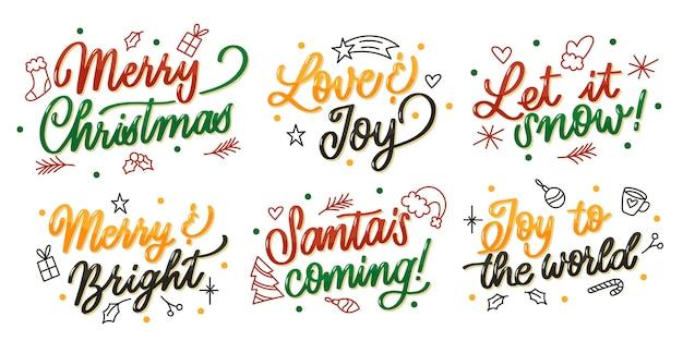 Colección de etiquetas de letras navideñas