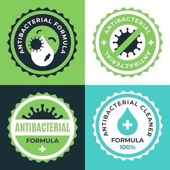 Colección de etiquetas limpiadoras bactericidas