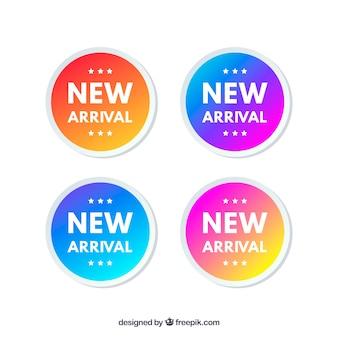 Colección de etiquetas de llegadas nuevas