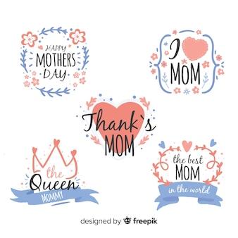 Colección etiquetas marco hojas día de la madre